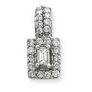 14K White Gold Emerald Cut Diamond Pendant