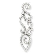 14K  White Gold Diamond Swirl Pendant