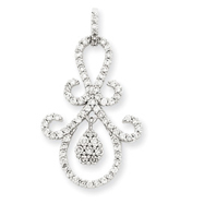 14K  White Gold Fancy Diamond Pendant