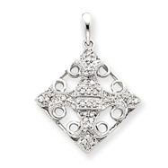 14K  White Gold Diamond Fleur-de-lis Pendant