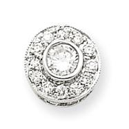 14K  White Gold Circle Diamond Pendant