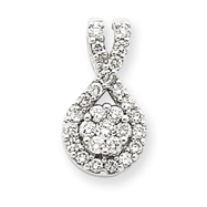 14K  White Gold Diamond Teardrop Pendant