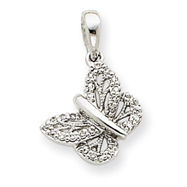 14K  White Gold Diamond Butterfly Pendant