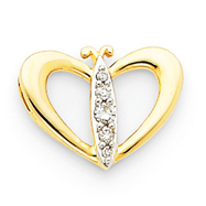 14K Gold & Rhodium Diamond Butterfly Heart Pendant
