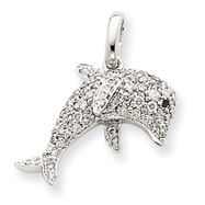 14K White Gold Diamond Dolphin Pendant