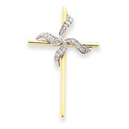 14K Two-Tone Gold Diamond Cross Pendant