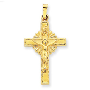 14K Gold INRI Hollow Crucifix Pendant