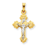 14K Two-Tone Gold INRI Hollow Crucifix Pendant
