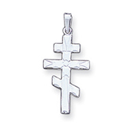 14K White Gold Eastern Orthodox Cross Pendant