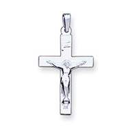 14K White Gold INRI Crucifix Charm
