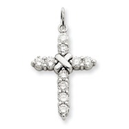 14K White Gold Diamond Passion Cross Pendant