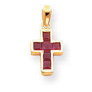 14K Gold Small Ruby Cross Pendant