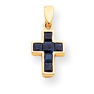 14K Gold Small Sapphire Cross Pendant