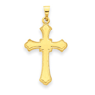 14K Gold Budded Cross Pendant
