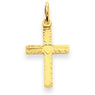 14K Gold Heart Cross Charm