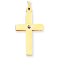 14K Gold Polished Diamond Cross Pendant