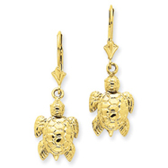 14K Gold Polished Turtle Dangle Leverback Earrings