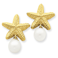 14K Gold Cultured Pearl Starfish Earrings