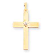 14K Two-Tone Gold Diamond Heart Cross Pendant