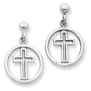 14K  White Gold Polished Eternal Life Cross Dangle Post Earrings
