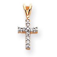 14K Gold & Rhodium Diamond Latin Cross Pendant