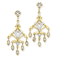 14K Gold & Rhodium Filigree Chandelier Earrings