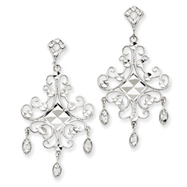 14K White Gold & Rhodium Filigree Chandelier Earrings
