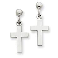 14K White Gold Polished Cross Earrings