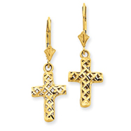 14K Gold Diamond-Cut Cross Earrings