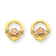 14K Two-tone Gold Polished & Diamond-Cut Satin Claddagh Post Earrings