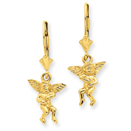 14K Gold Polished Angel Leverback Earrings
