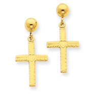 14K Gold Polished & Satin Cross Dangle Earrings