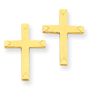 14K Gold Brushed Finish Cross Earrings