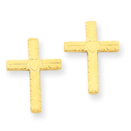 14K Gold Polished & Satin Heart Cross Earrings