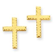 14K Gold Brushed Finish Cross Earrings
