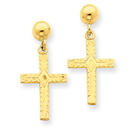 14K Gold Polished & Textured Cross Earrings