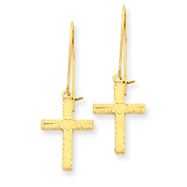 14K Gold Polished & Satin Cross Earrings