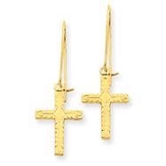 14K Gold Polished & Satin Cross Earrings