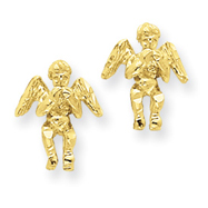 14K Gold Polished & Diamond-Cut Angel Earrings
