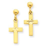 14K Gold Satin & Diamond-Cut Cross Earrings