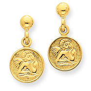 14K Gold  Polished Raphael Angel Earrings