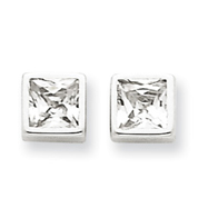 14K White Gold Polished Square Cubic Zirconia Post Ear