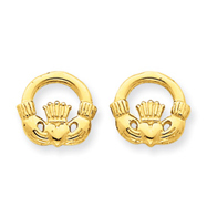 14K Gold Claddagh Post Earings