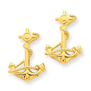 14K Gold 3-D Anchor With Rope Post Earrings