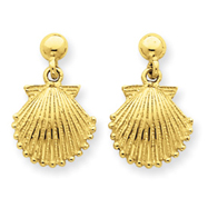 14K Gold Scallop Shell Dangle Post Earrings