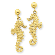 14K Gold Large Seahorse Dangle Post Earrings