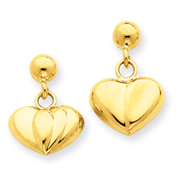 14K Gold Polished Puffed Heart Dangle Post Earrings
