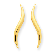 14K Gold Polished Wave Post Ear