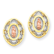 14K Two-Tone Gold Our Lady Of Guadalupe Earrings