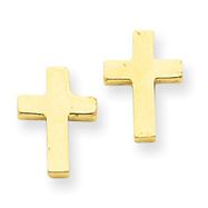 14K Gold Polished Cross Earrings